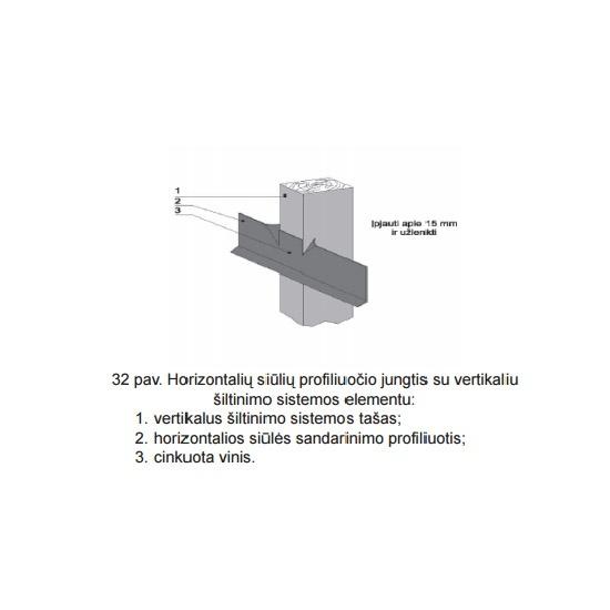 Horizontalių siūlių profiliuočio jungtis su vertikaliu šiltinimo sistemos elementu, sienų šiltinimas