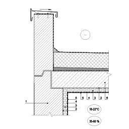 Išorinės sienos, šiltinamos patalpoje, jungtis su ploščiu stogu prie parapeto, epsa.lt, PPA