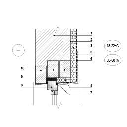 Išorinės sienos, šiltinamos patalpoje, jungtis su lango viršumi, epsa.lt, PPA