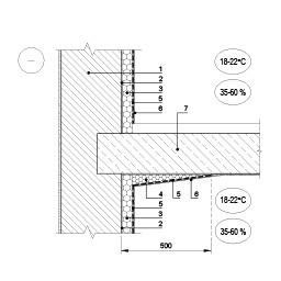 Išorinės sienos, šiltinamos patalpoje, jungtis su tarpaukštine perdanga, epsa.lt, PPA