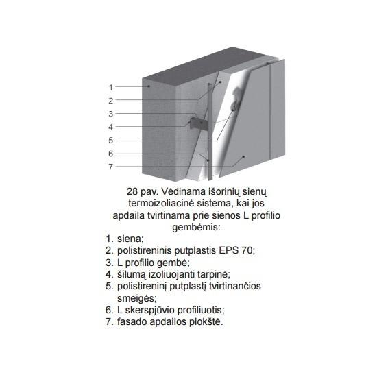 Vėdinama išorinių sienų termoizoliacinė sistema tvirtinama L profilio gembėmis, sienų šiltinimas