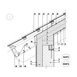 Šlaitinio stogo jungties su siena ties karnizu šiltinimas, kai šilumos izoliacija dedama virš gegnių, epsa.lt, PPA
