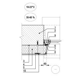 Sienos šiltinimas ties lango angokraščiu, kai langas prie šiltinamos išorinio sienos paviršiaus, epsa.lt, PPA