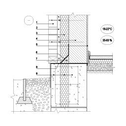 Išorinės sienos apdailos plytų ekranu ir vėdinamu tarpu jungtis su pamatu (be rūsiu), epsa.lt, PPA