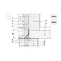 Išorinės sienos su apdailos plytų ekranu ir vėdinamu tarpu jungtis su rūsio siena, epsa.lt, PPA