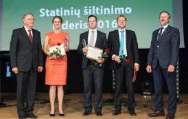 """""""Statinių šiltinimo lyderis"""". Apdovanojimas – įmonėms, o vertė – Lietuvai"""